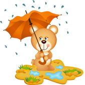 Teddy Bear Under Umbrella — Stockvektor
