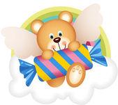 Teddy bear angel with candy on the cloud — Stock Vector