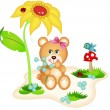 Teddy bear picking flowers - Stock Vector