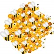 Bees filling the hive cells — Stock Vector