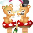 Teddy bear couple toasting with champagne - Stock Vector
