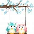 Two owls in love on a swing - Stock Vector