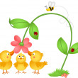 Little chicks admiring a flower — Stock Vector