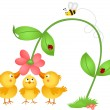 Little chicks admiring a flower - Stock Vector