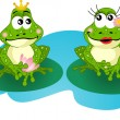 Frogs in love — Stock Vector