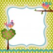 Floral frame with a birds - Stock Vector