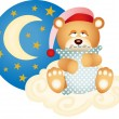 Good night teddy bear - Stock Vector