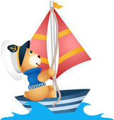 Teddy bear sailor in a boat — Vector de stock