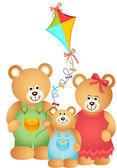 Nallebjörn familj — Stockvektor