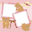 Stock Vector: Baby girl photo frame with teddy bear