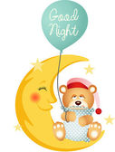 Good night teddy bear sitting on a moon — Stock Vector