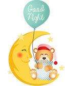 Buenas noches oso de peluche sentado en una luna — Vector de stock
