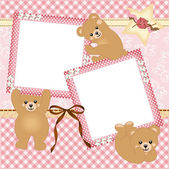 Baby girl photo frame with teddy bear — Vector de stock