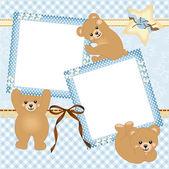 Baby boy photo frame with teddy bear — Stock Vector