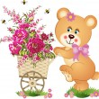 Teddy bear pushing a cart of flowers - Stock Vector