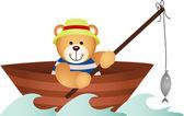 Teddy bear fishing in a boat — Stock Vector