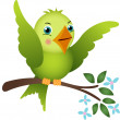 Green bird on tree branch — Stock Vector