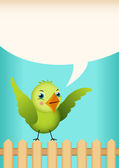 Green bird tag label — Stock Vector
