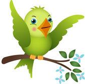 Green bird on tree branch — Stock Vector