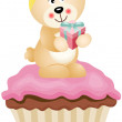 Teddy Bear Cupcake - Stock Vector