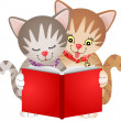 Cats reading a book — Stock Vector