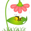 Bee is sheltered from rain under a flower - Stock Vector