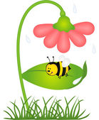 Bee is sheltered from rain under a flower — Vector de stock