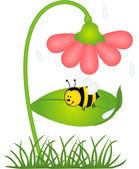 Bee är skyddad från regn under en blomma — Stockvektor