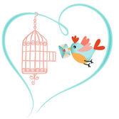 Bird out of the cage holding a love letter — Stock Vector