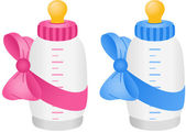 Baby bottle with bow tie — Stock Vector