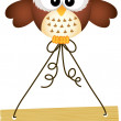 Owl holding wooden sign — Stock Vector