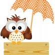 Owl on wooden sign with umbrella — Stock Vector #26734995