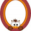 Owl hanging in a frame — Stock Vector