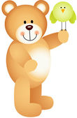 Teddy bear holding bird in the hand — Stock Vector