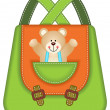 School Backpack Teddy Bear — Stock Vector