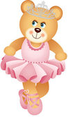 Ballerina Teddy Bear — Stock Vector