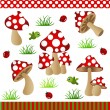 Mushrooms Digital Collage — Stock Vector