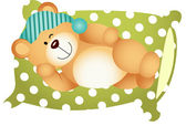 Sleeping on Pillow Cute Teddy Bear — Stock Vector