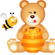 Teddy bear eats honey and bee angry — Stock Vector