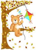 Teddy bear sitting on the tree with kite wind — Stock Vector