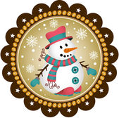 Snowman label — Stock Vector