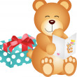 Teddy bear with birthday card and gift — Stock Vector