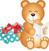 Oso de peluche con tarjeta de cumpleaños y regalo — Vector de stock