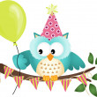 Stock Vector: Owl Happy Birthday