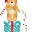 Stock Vector: Teddy Bear with Christmas Lights