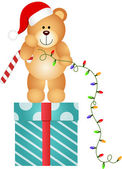 Teddy Bear with Christmas Lights — Stock Vector