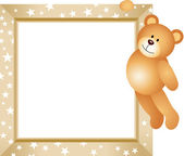 Teddy bear opknoping in het frame — Stockvector