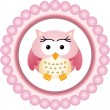 Stock Vector: Pink Owl Round Label