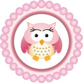 Pink Owl Round Label — Stock Vector