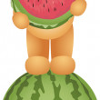 Teddy Bear Eating Watermelon — Stock Vector